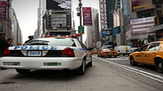 Police activity in Times Square, New York City, NY.