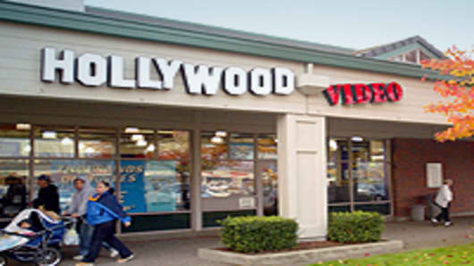 Customers leave a Hollywood Video store in Wilsonville, Oregon.