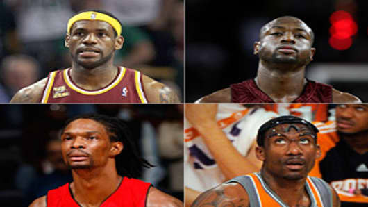 Clockwise from top, left: LeBron James, Dwyane Wade, Amar'e Stoudamire and Chris Bosh
