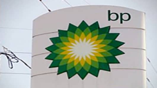 BP sign seen in Jackson, Missouri.
