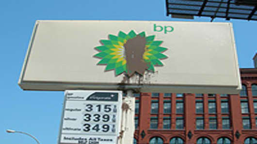 Simulated oil splatter on a BP gas station sign in Manhattan, New York.