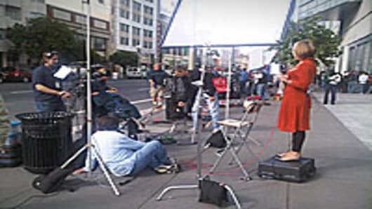 The Media frenzy before the Apple iPhone event at the Moscone Center in San Francisco, CA.