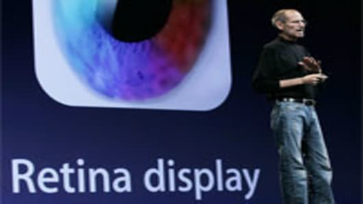 Apple CEO Steve Jobs announces the new retina display on the new iPhone 4.