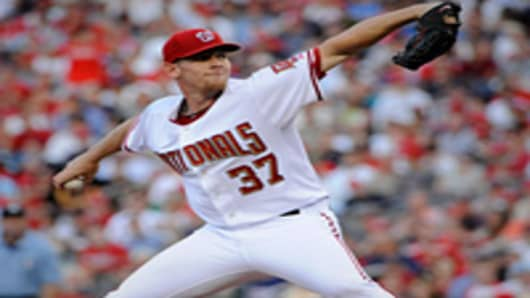 Pitcher Stephen Strasburg #37 of the Washington Nationals throws a pitch during the top of the third inning of his major league debut.
