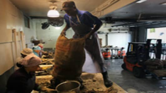 Workers shell oysters at the P&J Oyster Company in New Orleans, Louisiana. The company, which sells some 60,000 oysters per day to restaurants in the New Orleans area, could face shortages in supply if the federal government moves to close off more areas of the Gulf to commercial fishing due to the BP oil spill.