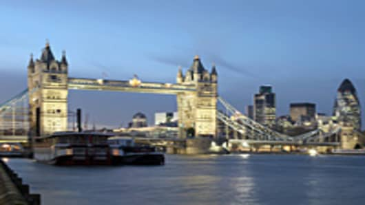 Tower Bridge and City of London financial district