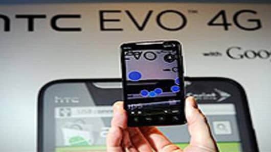 The new Sprint HTC Evo 4G smartphone is displayed at the Int
