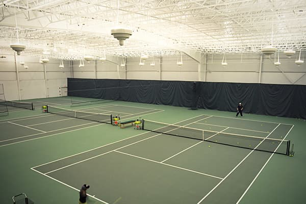 Sudbury, Mass. Membership cost: $4,000 initiation/ $389 monthly Noteworthy features: Ten indoor tennis courts with Rebound Ace surfaces, 25,000 square-foot year-round golf center, concierge service.