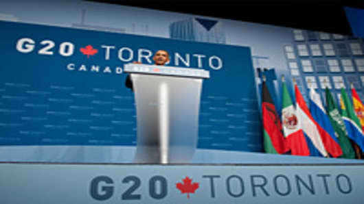 US President Barack Obama speaks during a press conference at the conclusion of the G20 Summit in Toronto
