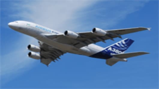 The Airbus A380 takes to the skies for a demonstration flight at the Farnborough Airshow in the UK.