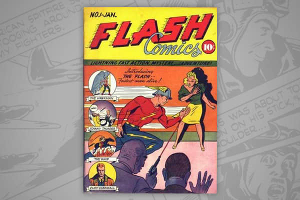 "CGC NM value: $220,000 Issue dated: January 1940 The debut issue of the ""Flash Comics"" series that was later brought under the DC comics name, and introduced characters like the Flash and Hawkman. The series only had 104 issues and was cancelled in 1949, although the ""Flash"" series was later revived."