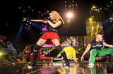 Madonna performs onstage during the opening night of her 'Sticky and Sweet' tour at the O2 Arena on in London, England.