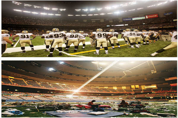 AUGUST 21, 2010: (Top) The New Orleans Saints look on during a preseason game against the Houston Texans at the Superdome in New Orleans. SEPTEMBER 2, 2005: (Bottom) Stranded victims of Hurricane Katrina rest inside the Superdome, which became a makeshift shelter for hurricane victims.