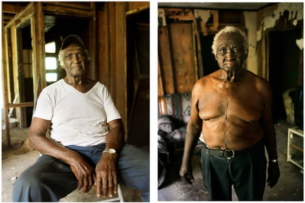 AUGUST 18, 2010: (Left) Willi Lee, 84, sits inside his Pearlington, Miss., home damaged by Hurricane Katrina. Lee says he wants to rebuild and has received the funds to do so, but cannot find a trustworthy builder.MAY 25, 2006: (Right) Lee, 79, stands inside his home. He attempted to ride out the storm in the house but eventually was washed outside by flooding where he was able to cling to a tree limb for hours until the floodwater subsided. Lee says a poisonous water moccasin snake clung to the