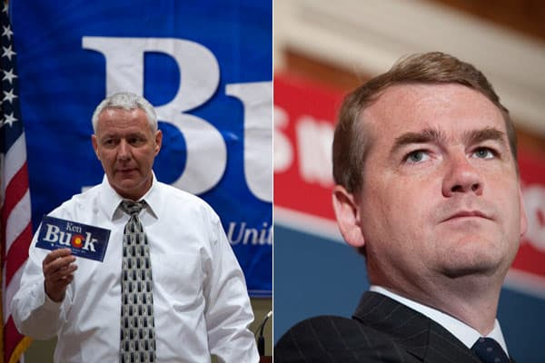 Tea party favorite and current District Attorney Ken Buck (R) (photographed at left) is facing incumbent Michael Bennet (D) (pictured right) for the seat.