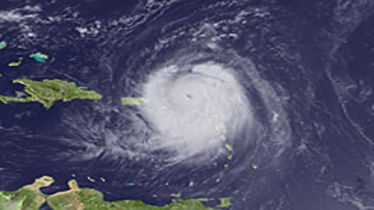 Hurricane Earl is seen on August 30, 2010 in the Atlantic Ocean as seen from space.