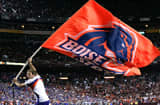 The Boise State Broncos flag is run after a touchdown against the Virginia Tech Hokies.
