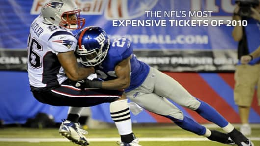 Professional football is the nation's most popular sport with most NFL games being sellouts. For many highly coveted games, die hard fans without season tickets have to tap into the secondary market to score a seat. Although many games remain in high demand, the NFL expects overall ticket sales to be down this year, while at the same time 18 of 32 teams raised prices for the 2010 season, due to the effects of a tough economy. To get an idea of which seats are the most expensive in the NFL, ticke