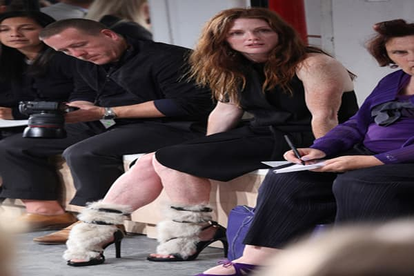 The shoes were particularly eye-catching in the front row. One example were the heels Julianne Moore wore to the Reed Krakoff Spring 2011 fashion show on Sept. 15. These were from Krakoff's fall collection. For spring, he has a new version, this time made with boar hair.