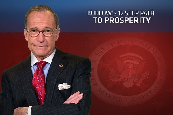 "Sky-high taxes, overbloated budgets, a meddlesome government. These are just some of the diseases affecting the US economy, and Larry Kudlow says they need a recovery-based solution. But not just any recovery—the 12 step kind. So Kudlow proposed just that. What follows is his ""Free Market 12 Step Path to Prosperity."" It's his plan to put America back on track after the Great Recession. Whether it's cutting those taxes, shrinking government or strengthening the dollar, he thinks this is the best"