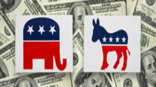 Democrat donkey and republican elephant logos on top of cash.