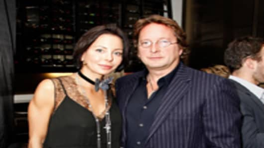 Writer Lisa Falcone and businessman Philip Falcone attend NY TIMES Party at the C5 Resturant at The Royal Ontario Museum.