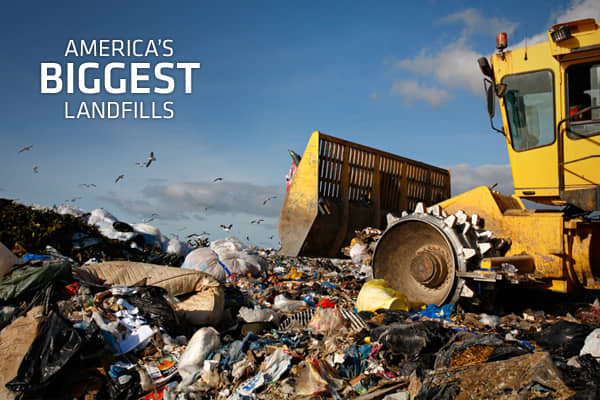 With more than 250 million tons of trash created in the United States each year, the garbage business in America is beyond big. The $52-billion-a-year industry is dominated by companies like Waste Management and Republic Services. Gone are the days of the town dump. Today's landfills are technological marvels and have even become a reliable source for alternative energy as landfill gases are tapped and sold to businesses and municipalities.Here, we've compiled a list of the 10 largest landfills