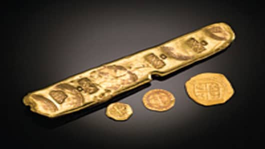 Gold bars and coins recovered from the $450 million treasure cache discovered on the Atocha shipwreck.