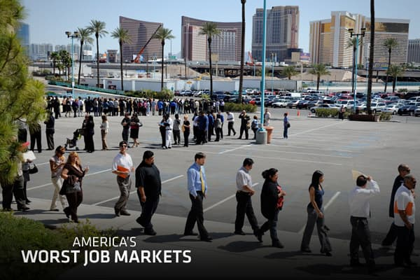 "Worries about the sluggish jobs recovery continue to nag at the economy but there are glimmers of hope — even in the worst job markets in America, according to the latest jobs report from job-listing site ""Absolutely, I think the data are showing very clearly that there is a steady recovery,"" said Paul Forster, CEO of Indeed.com. ""And I expect the momentum to continue — across almost all sectors.""Take Detroit: At the depths of the recession, in August 2009, Detroit had 18 job seekers for every j"