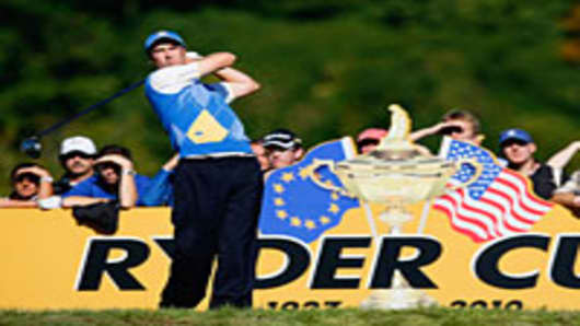 of Europe tees off in the singles matches during the 2010 Ryder Cup at the Celtic Manor Resort on October 4, 2010 in Newport, Wales.