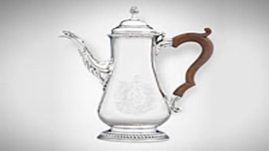 "This silver coffee pot is one of three Paul Revere pieces made prior to the American Revolution. The phrase ""Frangas non flectes"" (""Broken, not bowed"") is inscribed on the base of the pot."