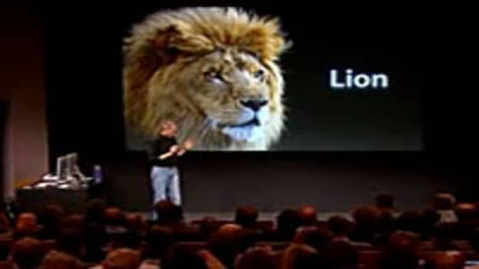 Jobs unveiling the new Mac OSX Lion.