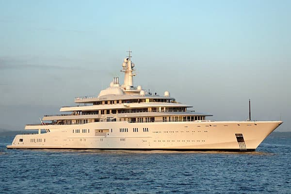 Length: 533 feet Top speed: 25 knots Total power: N/A With a reported price tag of nearly $1.2 billion, the Eclipse is not only the largest yacht, but also the most expensive. The Eclipse is due to be delivered later this year to Russian Billionaire Roman Abramovich, who is known worldwide for buying big spending on everything from super yachts to England's Chelsea Football Club. The Eclipse has two helicopter pads, 11 guest cabins, 2 swimming pools, exterior fireplace and a dance hall. The vess