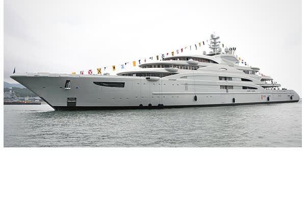 Length: 440 feet Top speed: N/A Total power: N/A Built by Fincantieri Yachts and designed by Monaco's Espen Oeino designers, the Serene is set to launch in 2010 and is currently being outfitted, according to SuperYachtTimes.com. When completed, it will be the largest yacht ever to be built in Italy. The yacht began construction in 2007 and is considered to be one of the most technologically advanced super yachts currently being built. It features seven decks, two helicopter landing platforms, st