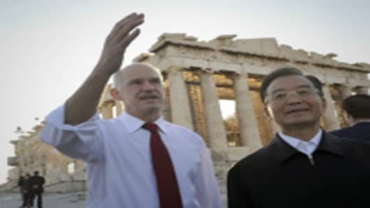 China's Premier Wen Jiabao and Greek Prime Minister George Papandreou.