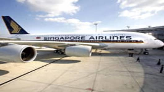 Singapore Airlines A380 on tarmac