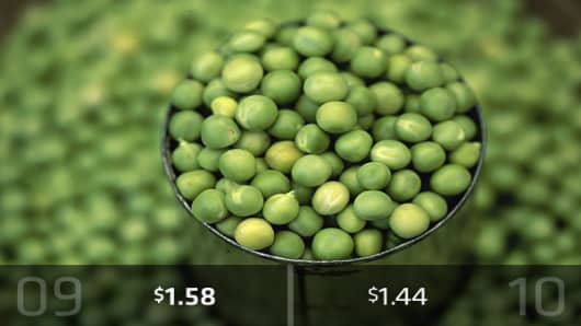 2010 Cost: $1.44Heap on the peas! There's a decrease in the estimated cost of this veggie from 2009. One pound will cost about $1.44 this year, down from $1.58 in 2009, according to the AFBF.