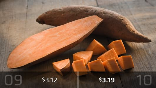2010 Cost: $3.19There was a slight change to the upside for average cost of sweet potatoes. If you buy three pounds, they should cost about $3.19, up from $3.12 in 2009.
