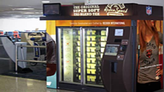 ZoomSystems built a machine for Reebok to sell its Retro Sport shirts. This one is at JFK Airport in New York.
