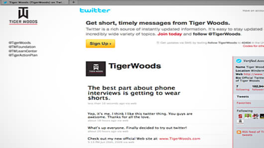 Tiger Woods Twitter Page