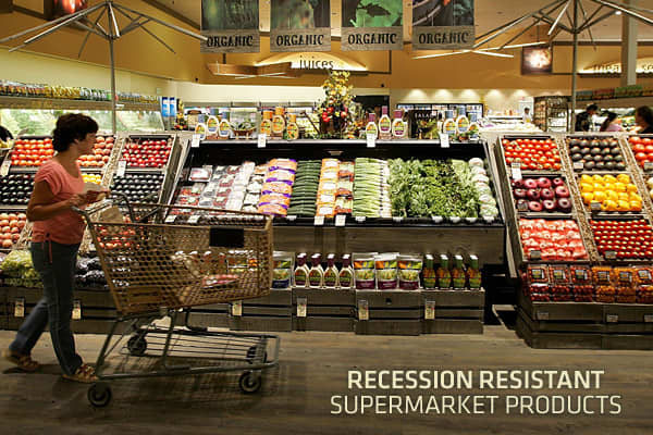 Supermarket sales reached $437 billion in 2009, according to  2010 Consumer Expenditures Study. It marked a modest 1.6 percent sales gain year-over-year, but it was the first time in five years that supermarket sales didn't exceed the gain of the prior year.The economic downturn certainly impacted the supermarket business, with American consumers cutting back on almost all purchases. Had it not been for some of the product groups on the following list—those that consumers rely on in good and bad