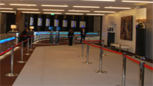 A view of the new extension of the World Economic Forum Congress Center, with more art on display for those attending.