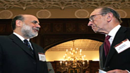 Alan Greenspan with Ben Bernanke