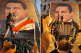 A combo of pictures shows Egyptian demonstrators tearing a huge portrait of President Hosni Mubarak during a protest against his rule in the northern port city of Alexandria on January 27, 2011.