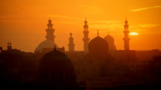 Egypt, Cairo, Sultan Hussan Mosque at sunset