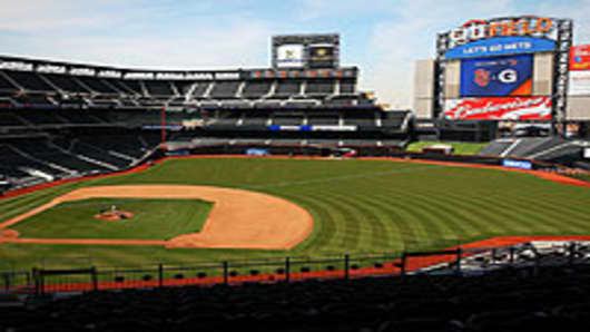 A general view of the fields and stands of Citi Field in the Flushing neighborhood of the Queens borough of New York City.