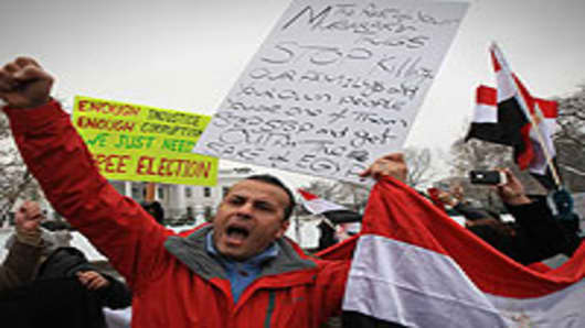 Sameh Abouass participates in a rally in front of the White House on January 28, 2011 in Washington, DC. A coalition of Egyptian organizations want Egyptian President Hosny Mubarak to be oustered and are urging the U.S. Government to support the Egyptian protests.