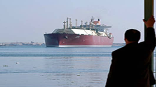 A Qatari gas tanker as its passes through the Suez Canal.