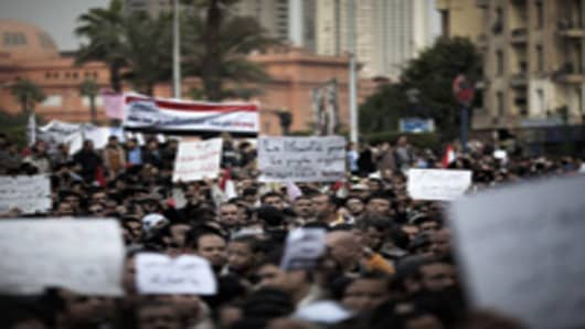 Thousands of Egyptians gather in Cairo's Tahrir Square.