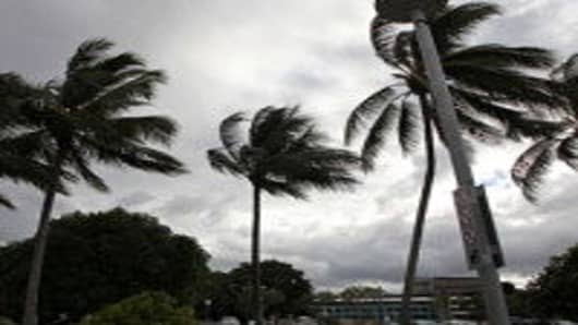 Clouds form over the central business district on Cairns waterfront as Queenslanders brace themsleves for Cyclone Yasi on February 1, 2011 in Cairns, Australia.